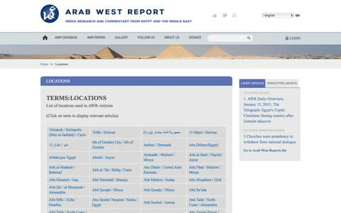 Screenshot of Locations Page arabwestreport.info - Locations | Arab West Report - captured July 30, 2018