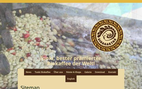Screenshot of Site Map Page kaffee-sid.com - Sitemap - Kaffee Siddhartha GmbH - captured Feb. 12, 2016