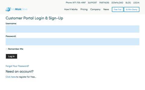 Screenshot of Login Page myworkdrive.com - Login - MyWorkDrive - captured July 9, 2018