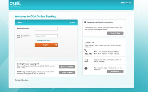 Screenshot of Login Page cua.com.au - CUA Online Banking - Simple & easy internet banking. Log in today. CUA's new look Web Banker. - captured Oct. 15, 2018