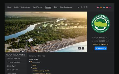 Screenshot of Site Map Page golfturkey.com - site map for Perfect Golf Holidays in Turkey - https://golfturkey.com - captured Oct. 7, 2017