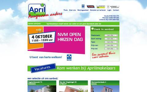 Screenshot of Home Page aprilmakelaars.nl - Welkom bij Aprilmakelaars - captured Sept. 30, 2014