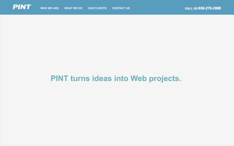 Screenshot of Home Page pint.com - PINT | San Diego advanced web development - captured July 3, 2015