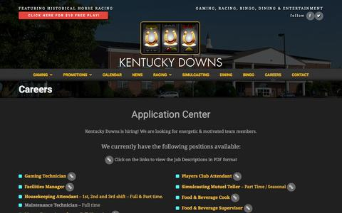 Screenshot of Jobs Page kentuckydowns.com - Careers - Kentucky Downs - captured Nov. 30, 2015