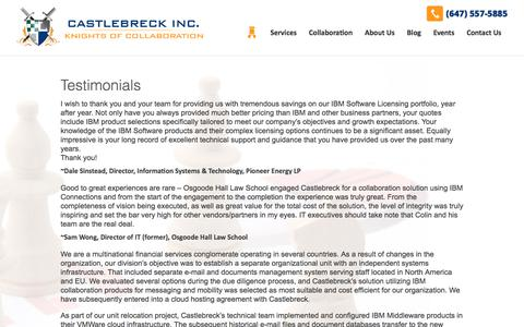 Screenshot of Testimonials Page castlebreck.com - Testimonials - Castlebreck Inc. - captured Sept. 25, 2018
