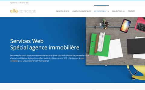 Screenshot of Services Page alfa-concept.com - Services immobiliers - Passerelle - Audit - WebDesign - Alfa Concept - captured July 29, 2018