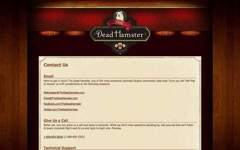 Screenshot of Contact Page thedeadhamster.com - Contact The Dead Hamster for Questions or Technical Support - captured Sept. 30, 2014