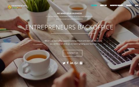 Screenshot of Home Page entrepreneursbackoffice.com - ENTREPRENEURS BACKOFFICE - captured May 19, 2017