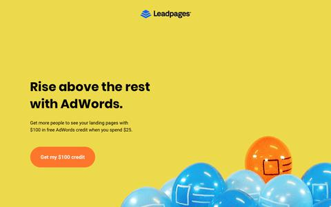 Screenshot of Landing Page leadpages.net - Google AdWords + Leadpages - captured Oct. 28, 2017