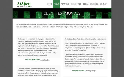 Screenshot of Testimonials Page siskeyproductions.com - Testimonials from Happy Clients | Siskey Productions - captured Oct. 7, 2014