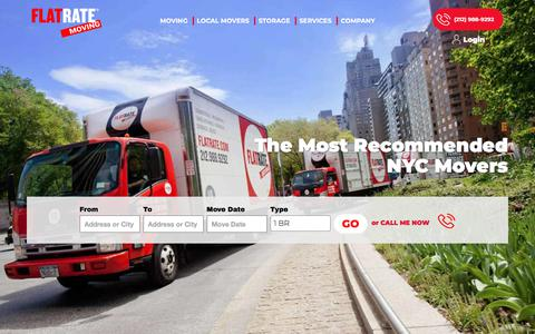 Screenshot of Home Page flatrate.com - The Best NYC Movers | FlatRate Moving & Storage Company - captured July 26, 2018