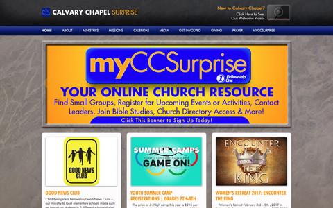 Screenshot of Home Page ccsurprise.org - Calvary Chapel Surprise - captured June 14, 2016