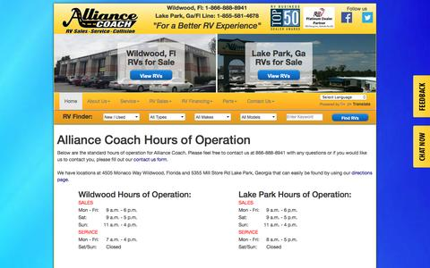 Screenshot of Hours Page alliancecoach.com - RV Dealers Ocala - Alliance Coach - Wildwood, FL | Lake Park, GA - captured Dec. 26, 2016