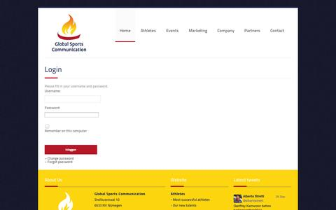 Screenshot of Login Page globalsportscommunication.nl - Management of world class athletes | Global Sports Communication - captured Sept. 30, 2014