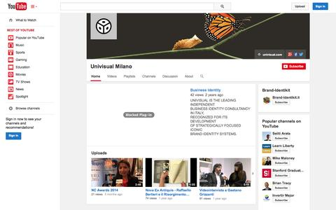 Screenshot of YouTube Page youtube.com - Univisual Milano  - YouTube - captured Oct. 27, 2014