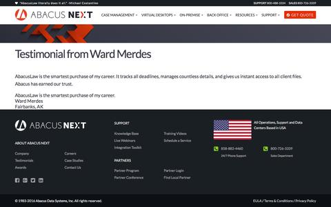 Screenshot of Developers Page abacusnext.com - Testimonial from Ward Merdes | Abacus Next - captured Nov. 17, 2016