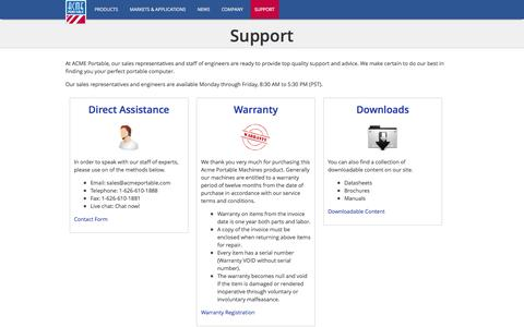 Screenshot of Support Page acmeportable.com - Support | ACME Portable - captured Sept. 19, 2014
