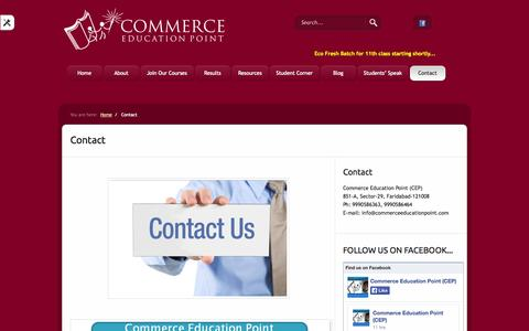 Screenshot of Contact Page commerceeducationpoint.com - Contact  «  Commerce Education Point - captured Oct. 2, 2014