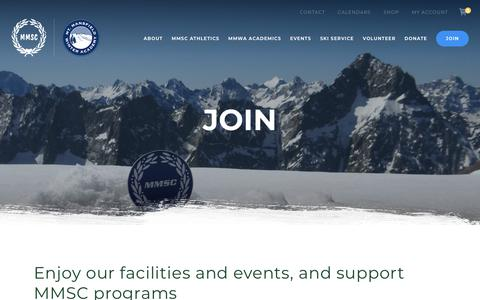 Screenshot of Signup Page mmsc-mmwa.org - Join - Mt. Mansfield Ski Club & Winter Academy - captured Oct. 27, 2018