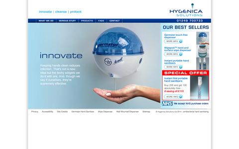Screenshot of Home Page hygenica-solutions.co.uk - Hand Gels - Antibacterial Hand Sanitiser Gels - captured Oct. 3, 2014