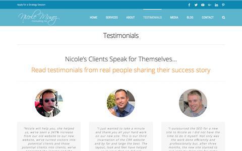 Screenshot of Testimonials Page nicolemunoz.com - Nicole Munoz | Client Testimonials - captured Oct. 18, 2017
