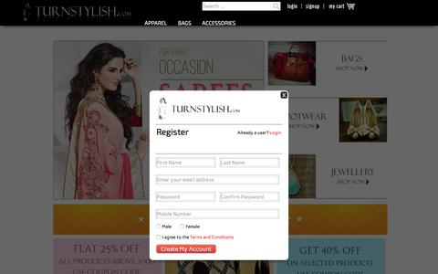 Screenshot of Home Page turnstylish.com - Online Shopping for Women | Designer Wear Apparel, Footwear, Bags & Accessories | TurnStylish.com - captured Feb. 16, 2016