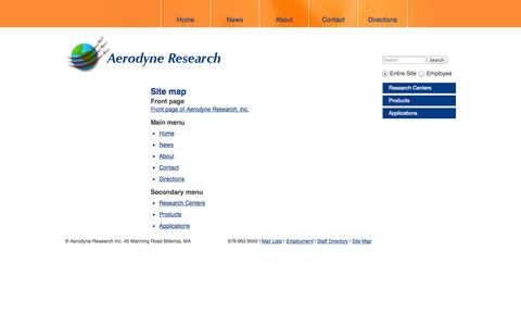 Screenshot of Site Map Page aerodyne.com - Site map | Aerodyne Research, Inc. - captured Oct. 4, 2014