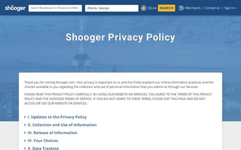 Screenshot of Privacy Page shooger.com - Shooger – Privacy Policy - captured Oct. 13, 2017