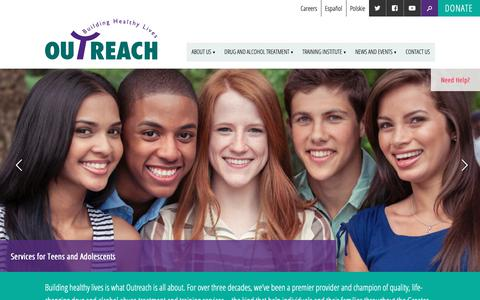 Screenshot of Home Page opiny.org - Outreach New York | Building Healthy Lives - captured Oct. 19, 2018