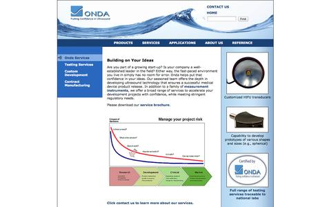 Screenshot of Services Page ondacorp.com - Onda Services - captured Oct. 26, 2014