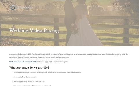 Screenshot of Pricing Page keithmalone.ie - Wedding Videographer Packages | Wedding Video Prices - captured Nov. 27, 2016