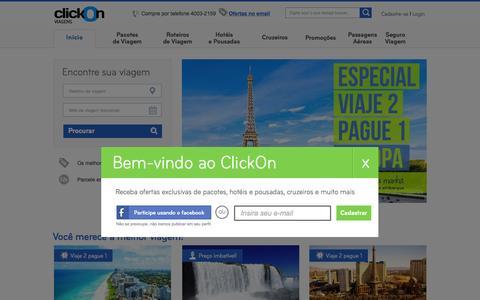 Screenshot of Home Page clickon.com.br - ClickOn - Você merece a melhor viagem - captured July 22, 2015