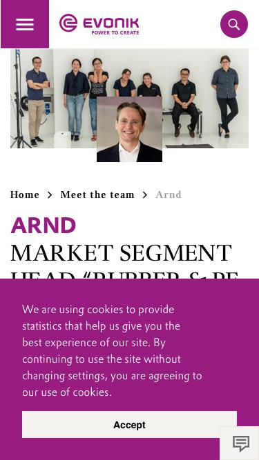 Screenshot of Team Page  evonik.com - Arnd                                                                - Evonik Careers