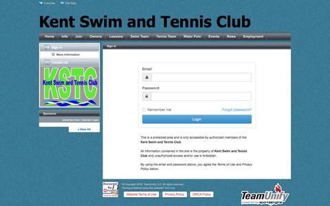 Screenshot of Login Page teamunify.com - Kent Swim and Tennis Club : Sign In - captured Nov. 27, 2016