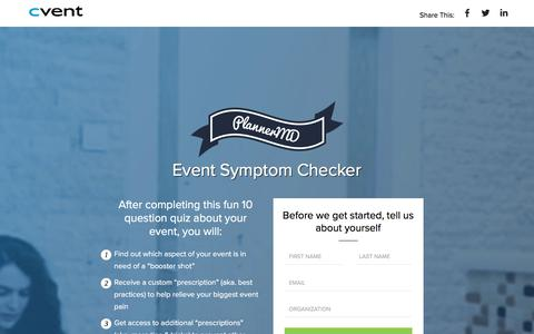 Screenshot of Landing Page cvent.com - Cvent | PlannerMD Symptom Checker - captured April 12, 2018