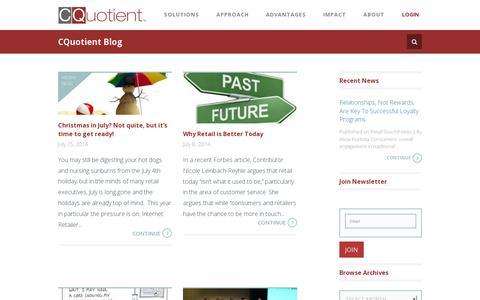 Screenshot of Blog cquotient.com - Blog - CQuotient : CQuotient - captured July 19, 2014
