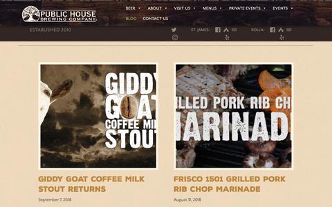 Screenshot of Blog publichousebrewery.com - Blog – Public House Brewing Company - captured Sept. 30, 2018