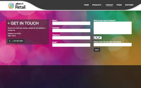 Screenshot of Contact Page playtechretail.com - Get In Touch - Playtech Retail - captured Oct. 29, 2014