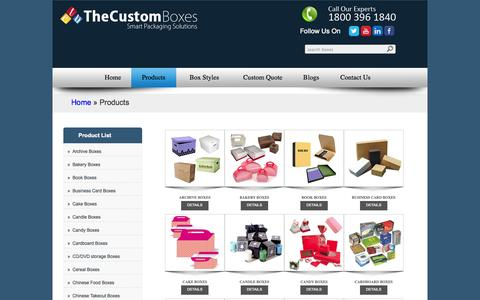 Screenshot of Products Page Site Map Page thecustomboxes.com - Custom Boxes Wholesale | Custom Printed Boxes | Custom Packaging Boxes Company - captured Oct. 25, 2014