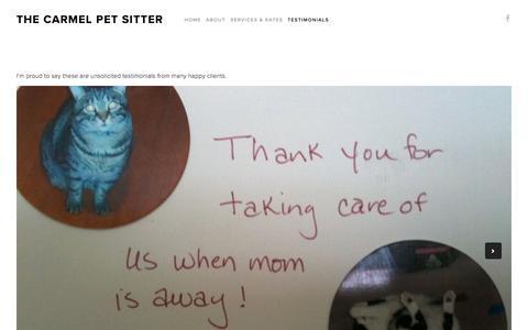 Screenshot of Testimonials Page thecarmelpetsitter.com - Testimonials — The Carmel Pet Sitter - captured June 23, 2016