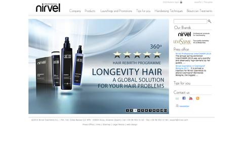 Screenshot of Home Page nirvel.com - Nirvel Cosmetics S.L. | Beauty and Hair products for professionals - captured Oct. 8, 2014