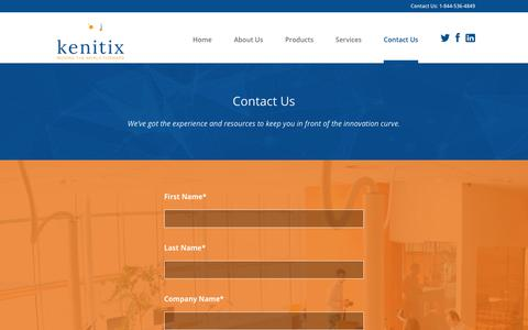 Screenshot of Contact Page kenitix.com - Kenitix | Technology Staffing and Services - captured July 10, 2018