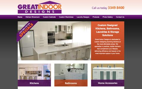 Screenshot of Home Page greatindoordesigns.com.au - Custom Kitchens, Cabinets, Bathrooms, Built-in Wardrobes, Laundry Cabinets | Brisbane - captured Sept. 30, 2014