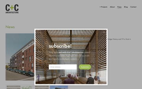 Screenshot of Press Page ccarchitecture.com - C+C Architecture/Press - captured July 13, 2018
