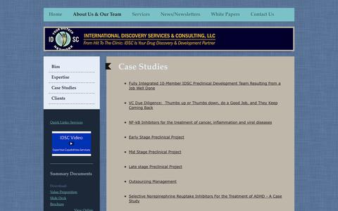 Screenshot of Case Studies Page idscbiotechnetwork.com - Case Studies - Pharmaceutical Consulting & Outsourcing Management - IDSC - captured Oct. 3, 2014