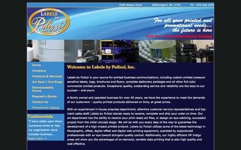 Screenshot of Home Page Privacy Page labelsbypulizzi.com - Welcome to Labels by Pulizzi, Inc. | Labels by Pulizzi - captured Sept. 27, 2014