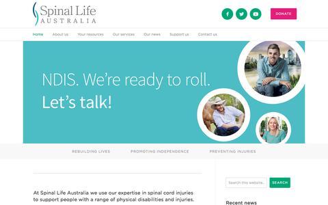 Screenshot of Home Page spinal.com.au - Spinal Life Australia — Backing you. For life. - captured Dec. 3, 2016
