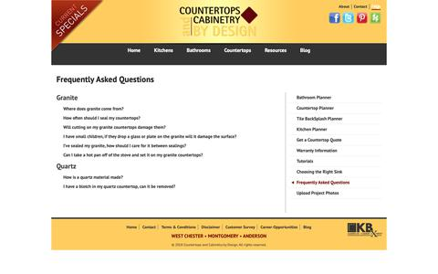 Screenshot of FAQ Page cacbydesign.com - Frequently Asked Questions   Countertops and Cabinetry by Design - captured Sept. 29, 2018