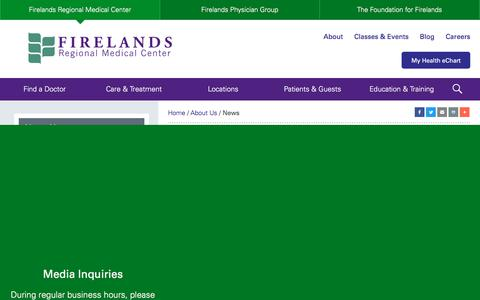 Screenshot of Press Page firelands.com - News – Firelands Regional Medical Center - captured Oct. 13, 2017