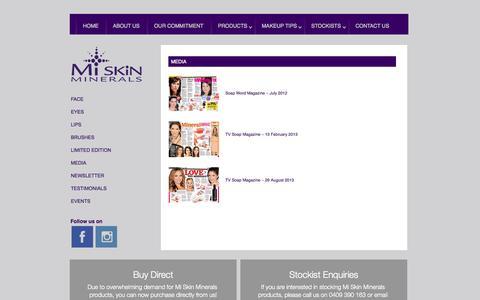 Screenshot of Press Page miskinminerals.com.au - Media - Mi Skin Minerals - captured Oct. 3, 2014